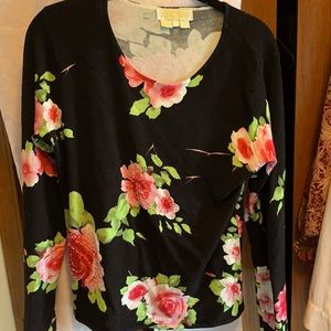 Adore size Large roses and beads light sweater